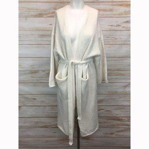 Zara Ivory Knit Belted Long Robe Cardigan Sweater